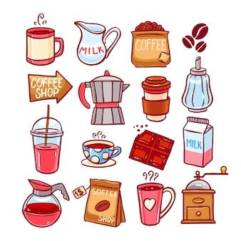 Ensemble mignon d'icônes de café