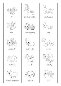Ensemble mignon d'insectes avec des noms en anglais.