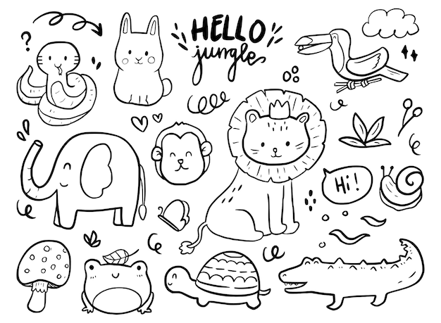 Ensemble, de, mignon, jungle, animal, de, lion