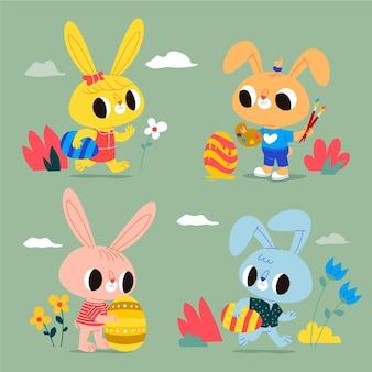 Ensemble mignon de lapin de pâques