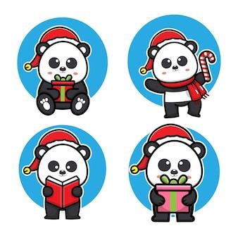 Ensemble mignon panda célébrant l'illustration vectorielle de noël
