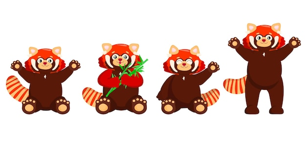 Ensemble de mignon panda rouge avec petit panda en bambou ailurus fulgens sur fond blanc