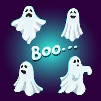 Ensemble de mignon personnage boo fantôme