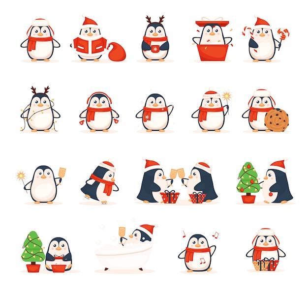 Ensemble, de, mignon, pingouins, noël