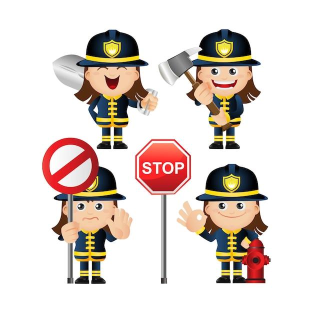 Ensemble mignon de pompier