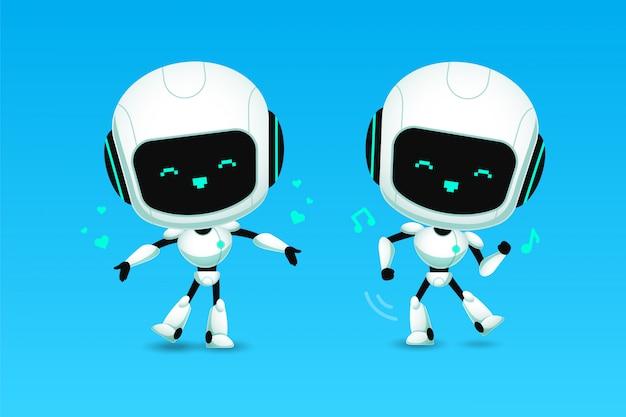 Ensemble de mignon robot ai caractère amour et danse action