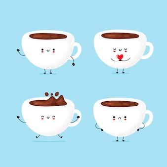 Ensemble de mignon tasse de café heureux et triste
