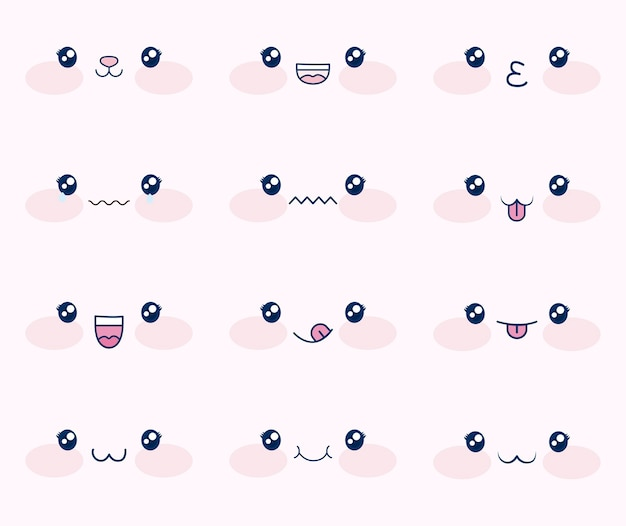 Ensemble mignon de visages kawaii