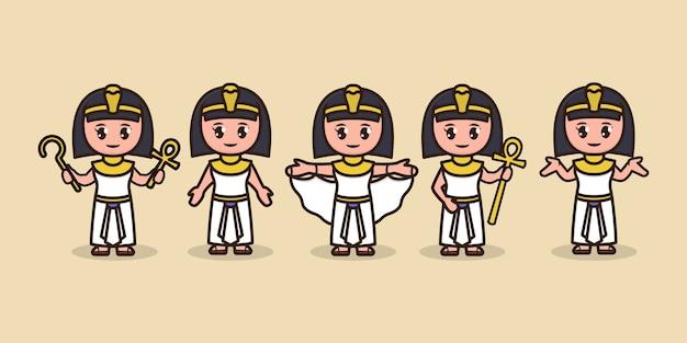 Ensemble de mignonne illustration de conception de mascotte cléopâtre egypte