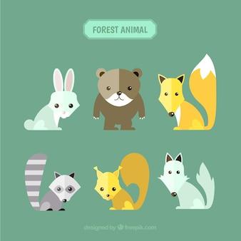 Ensemble de mignons animaux de la forêt dans différentes couleurs