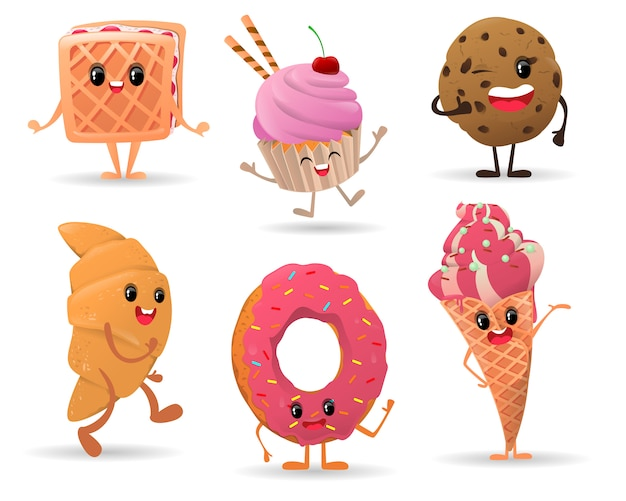 Ensemble de mignons divers personnages de dessert