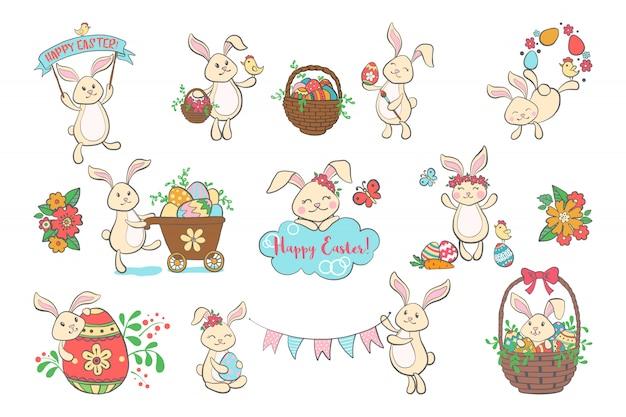 Ensemble de mignons lapins de pâques.