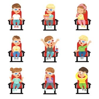 Ensemble de mignons petits enfants à lunettes