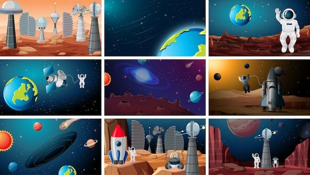 Ensemble de milieux de l'espace