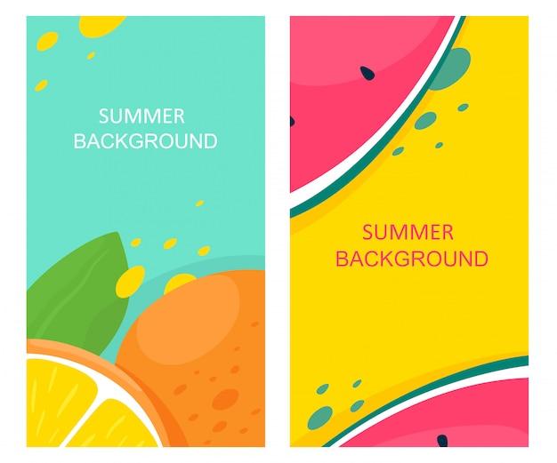Ensemble de milieux d'été avec des fruits