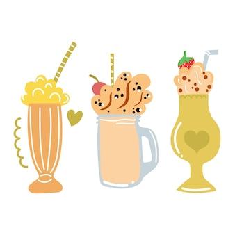 Ensemble de milkshakes dessinés à la main concept de cocktails mignons de boisson sucrée de l'heure d'été