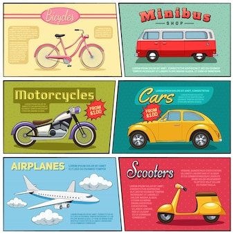 Ensemble de mini affiches d'avion de voiture de moto de minibus de vélo et de scooter en style plat comique