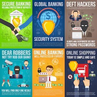 Ensemble de mini affiches de banque