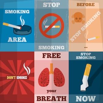 Ensemble de mini affiches à fumer
