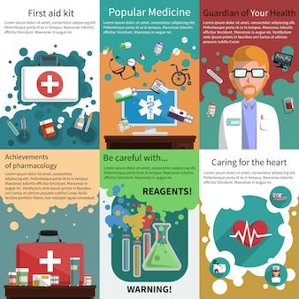 Ensemble de mini-affiches de médicaments multicolores