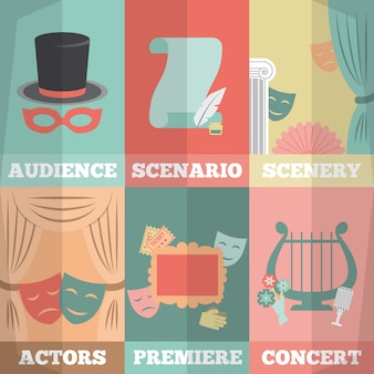 Ensemble de mini affiches de théâtre