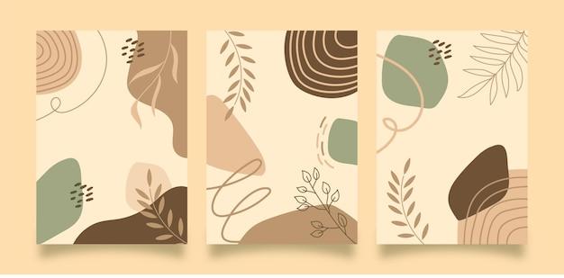 Ensemble de minimalisme de fond de couverture d'art mural boho dessiné à la main