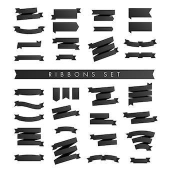 Ensemble minimaliste moderne de rubans noirs isolé sur blanc.