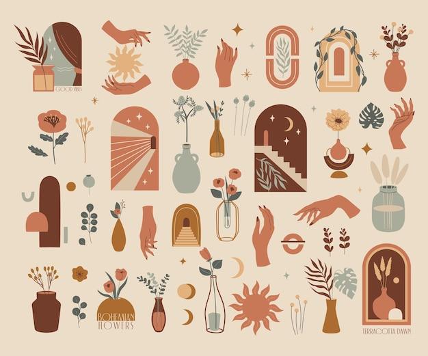 Ensemble minimaliste moderne de vecteur illustration esthétique abstraite et art contemporain bohème