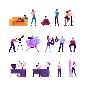 Ensemble de minuscules personnages masculins et féminins se détendre avec des gadgets