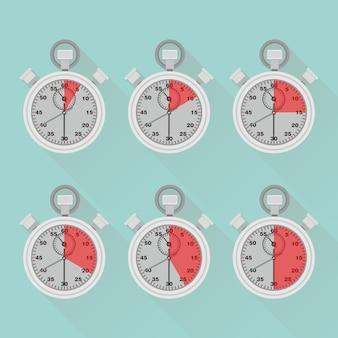 Ensemble de minuterie, chronomètre, horloge. étiquette du temps de cuisson