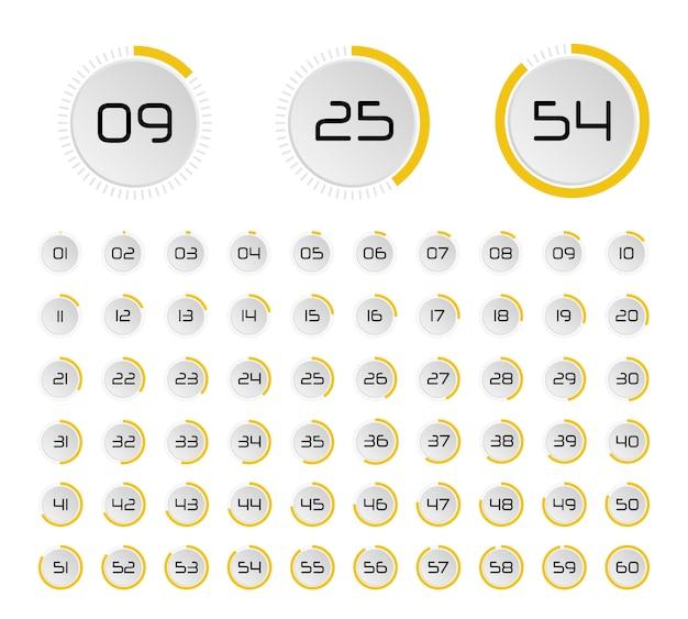 Ensemble de minuteries. horloge minimaliste avec affichage des minutes.