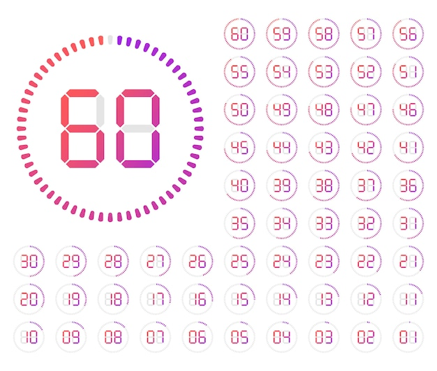 Ensemble de minuteries. icône de signe de cadran d'horloge minimaliste blanc avec le temps des tiques