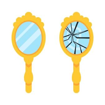 Ensemble de miroir à main rétro