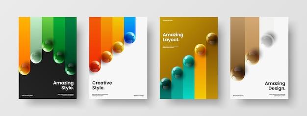 Ensemble de mise en page de brochure d'entreprise orbes 3d géométriques
