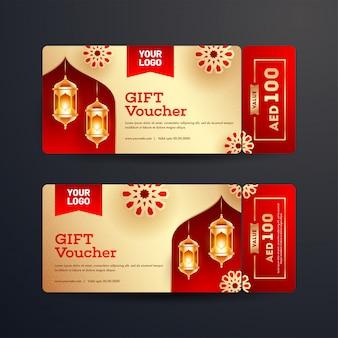 Ensemble de mise en page de chèques cadeaux ou coupons avec les meilleures offres et illumi