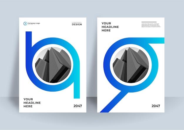 Ensemble de mise en page de conception de couverture a4 blanc bleu moderne pour les entreprises. géométrie abstraite avec concept d'entreprise