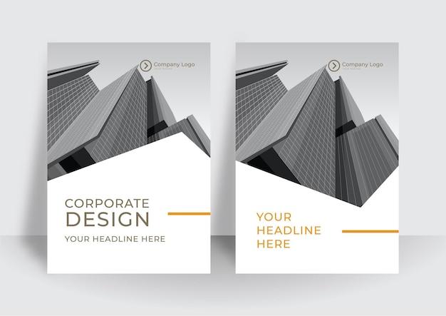 Ensemble de mise en page de conception de couverture a4 blanc orange moderne pour les entreprises. géométrie abstraite avec concept d'entreprise