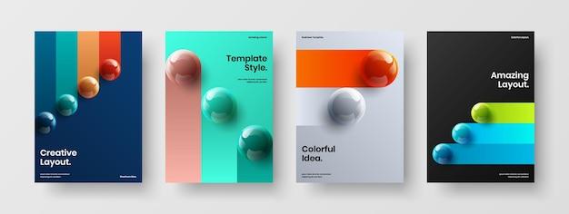 Ensemble de mise en page de couverture de catalogue d'orbes réalistes multicolores