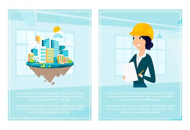 Ensemble de la mise en page de la ville et de l'architecte