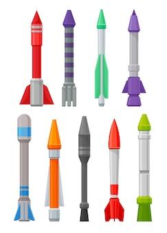 Ensemble de missiles militaires de différentes formes et couleurs
