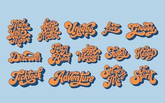 Ensemble mixte de typographie de mots de motivation