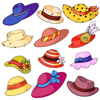 Ensemble de mode chapeau femme. chapeaux féminins d'été de dessin animé isolé avec collection de rubans de bord. style d'usure de tête rétro femme. illustration vectorielle de lady accessoire design