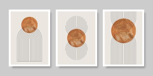 Ensemble à la mode de compositions peintes à la main artistiques minimalistes créatives abstraites idéales pour la décoration murale