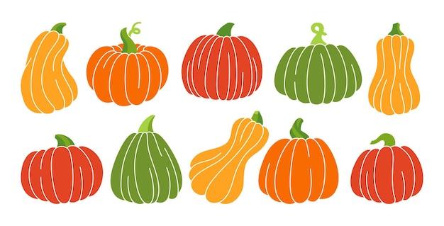 Ensemble à la mode de couleur citrouille dessin animé automne citrouilles entières mûres halloween ou symbole du jour de thanksgiving