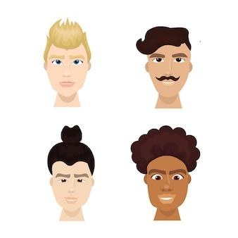 Ensemble de mode hipster homme fait face à une collection élégante de barbes et de coiffures