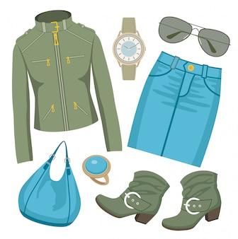 Ensemble de mode avec jupe et veste.