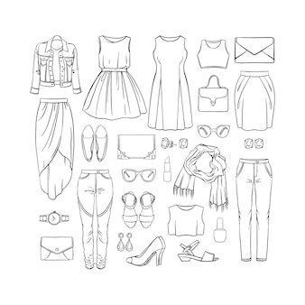 Ensemble de mode de vêtements féminins. illustration dessinée à la main
