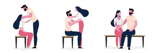 Ensemble de mode de vie de jeune couple amoureux ensemble
