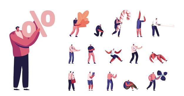 Ensemble de mode de vie pour hommes, personnages masculins minuscules avec symbole de pourcentage énorme, feuilles de chêne et baies, canne en bonbon de noël et bonnet de noel isolé sur fond blanc. illustration vectorielle de gens de dessin animé