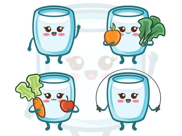 Ensemble de mode de vie sain de verre à eau mignon. personnages de dessins animés.